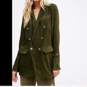 Free People Olive Military Inspired Blazer